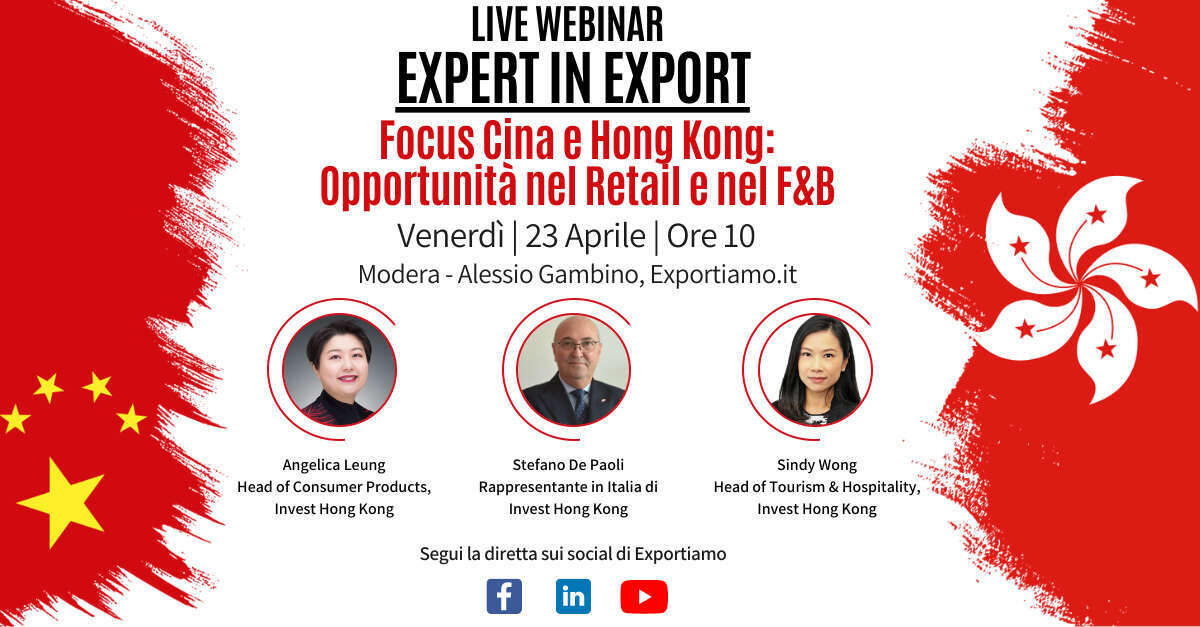 Expert in Export - Focus Cina e Hong Kong - Opportunità nel Retail e nel F&B